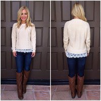 Mallory Scallop Lace Knit Sweater