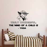 Star Wars Wall Decal Quote Truly Wonderful The Mind Of A Child Is- Best Yoda Quotes Wall Decals- Wall Decal Star Wars Quotes Home Decor Q102