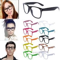 Fashion Retro Vintage Clear Lens Frame Wayfarer Trendy Cool Nerd Geek Glasses = 1946662276