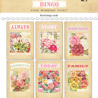 "Digital vintage cottage shabby chic flowered bingo cards /  ephemera /  5"" by 7"" and 4"" by 6"" and 3"" by 4.2""  / downloadable, printable"