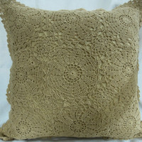 Gold CROCHET CUSHION COVER - Handmade- Home and Wedding Decor - Throw Pillow - Decorative Pillow - 2015 trends - Wedding gifts