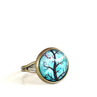 Tree of Life Ring Yoga Jewelry Adjustable Aqua Blue Green Earthy Spiritual Wisdom Unique Mothers Day Gift Under 20 Item E6