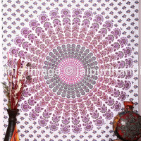 Indian Peacock Mandala Tapestry, Throw Psychedelic Wall Hanging Decor Blanket, Twin White Mandala tapestries, Bohemian Tapestries, Beach