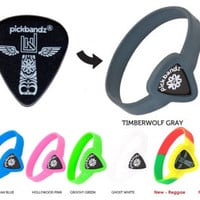 """GUITAR PICK Wristband by Pickbandz pick holder in Epic Black.. Available in 3 Sizes """"Just Pop in Your Favorite Pick"""" comes with a FREE pick"""