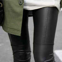 New 2016 Fashion Woman Full Leather Patchwork Repair The Fitting Female Ankle Length Trousers Faux Leather Pants Leggings