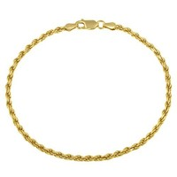 """Gold Plated Sterling Silver 060-Gauge Diamond-Cut Rope Chain Anklet, 9"""""""