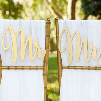Golden Mr And Mrs Chair Backers