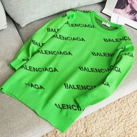 Balenciaga Classic Fashion Women Letter Print Multicolor Pullover Top Sweater Sweatshirt Green