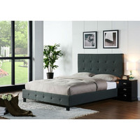 Full Size Upholstered Bed Frame with Headboard Dark Grey Upholstery