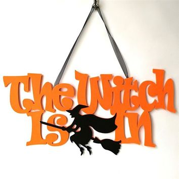 New Arrival Non-woven Cloth Halloween Hanging Ornaments Hook Letter Skull Cat Pumpkin Witch Spider Spooky Wall Decorations Party