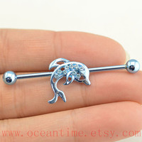 dolphin industrial barbell piercing,blue industrial barbell earring jewelry, dolphin ear jewelry,bff bellyring,oceantime