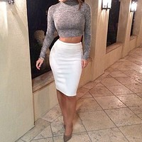 FASHION PURE COLOR LONG SLEEVE TWO-PIECE