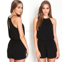New Women Playsuit Romper Sexy Summer Clothing Casual Sleeveless Short Black Jumpsuit Macacao Female SV011503 26601 = 1745481796