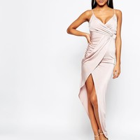Lipsy Slinky Cami Strap Asymmetric Dress With Wrap Front at asos.com