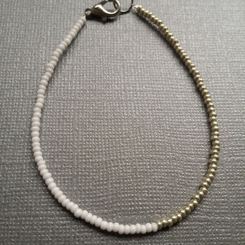 Opaque White and Silver Seed Bead Bracelet