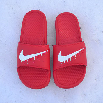 Custom Painted Nike Benassi Slides White Dripping Swoosh