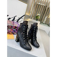 lv louis vuitton trending womens men leather side zip lace up ankle boots shoes high boots 39