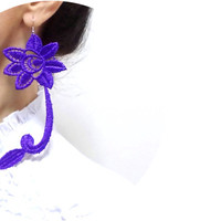 Handmade Violet Purple Lace Earrings, Hand dyed Long Earring, Fashion earrings, Gothic Accessories, Victorian Applique