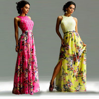 Scoop Floral Splicing Hollow Out Long Chiffon Dress