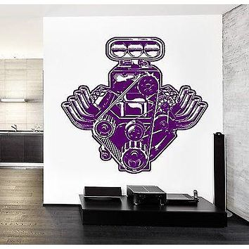 Wall Sticker Car Motor Engine Mechanic Auto Speed Cool Vinyl Decal Unique Gift (z2465)