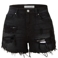 LE3NO Womens Stretchy High Waisted Ripped Frayed Denim Short with Pockets