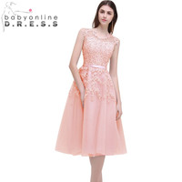 2017 Dust Pink Beaded Lace Appliques Short Prom Dresses Robe De Soiree Knee Length Party Evening Dress