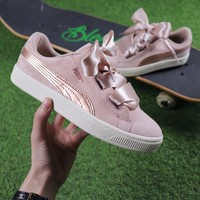 Best Online Sale Puma Suede Heart Trainer Shoes Pink Gold Casual Shoes Low-Top Sneakers