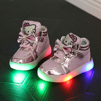 Children Shoes  New Autumn  Led Shoes Girls Princess Cartoon  Cute Shoe Children With Light Size 21-35 Glowing  Sneakers Enfants
