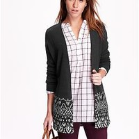 Patterned-Hem Open-Front Cardigan