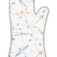 Oven Mitt, Watercolor Dragonflies Pattern