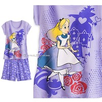 Licensed cool NEW Alice in Wonderland Icons Short PJS PAJAMAS Sleep Set for WOMEN DISNEY STORE