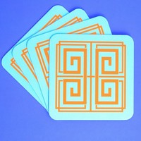 Blush Label Greek Coasters - Aqua