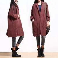 3 color linen coat linen jacket Women Trench Coat Ourwear autumn coat