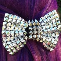 Studs And Spikes Rocker Bow Punk Metal Hair Bow Clip Pyramid Studs Shiny