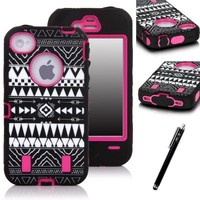 iPhone 4S Case, E LV iPhone 4S Full Body Hybrid Armor Protection Defender Case Cover - Dual Layer Armor Protective Case Cover for iPhone 4S 4 (Verizon, AT&T, T-Mobile, Sprint, International Unlocked) with 1 Stylus, 1 Screen Protector and 1 Microfiber Digit