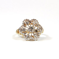 Filigree Style Two Tone Snowflake Vintage Ring with Austrian Crystals set in Shiny Silver Tone Edwardian Made In USA  #R103
