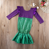 Lovely Beauty Mermaid Princess Fancy Dress Costume Girls Outfit Child Kid Dress Girls baby clothes