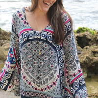 Dream Chaser Printed Bell Sleeve Top - One Left!