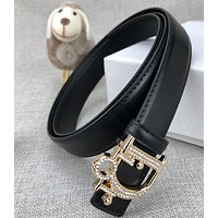 Dior classic letter head buckle ladies luxury leather belt