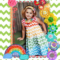 Girls Chevron Dress - Rainbow Dress - Tiered Dress
