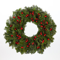 24 in. Red Berries - Real, Live Fraser Fir Christmas Wreath (Fresh-Cut)