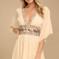 Reign Check Pale Peach Embroidered Dress