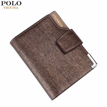 VICUNA POLO Hot Hasp Open Business Mens Wallet High Capacity Casual Man Money Clip Wallet With Metal Corner billetera hombre