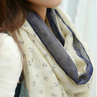2015 New Fashion women winter and autumn scarves Anchor print voile scarf bufandas brand big size soft woman scarf shawl
