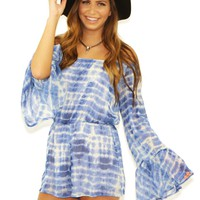 West Coast Wardrobe  Sun Kissed Off the Shoulder Tie Dye Romper in Pacific