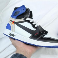 OFF-WHITE x Air Jordan 1 Retro AJ1 Blue/White Sneaker Shoe 36-47