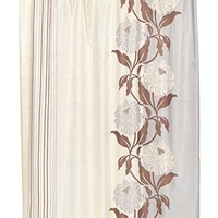 BenandJonah Collection Fabric Shower Curtain 70 x 72 inch  Floral Design Chocolate Color