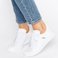 Adidas | adidas Originals All White Leather Gazelle Trainers at ASOS