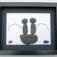 Gifts For Him- Pebble Art - Unique Gifts For Men - Fishermen's Gift - Fishing Themed Gifts - Gifts For Men
