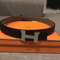 Hermes Leather Belt Reversible Black/ Taupe (silver H series) with Receipt & Box